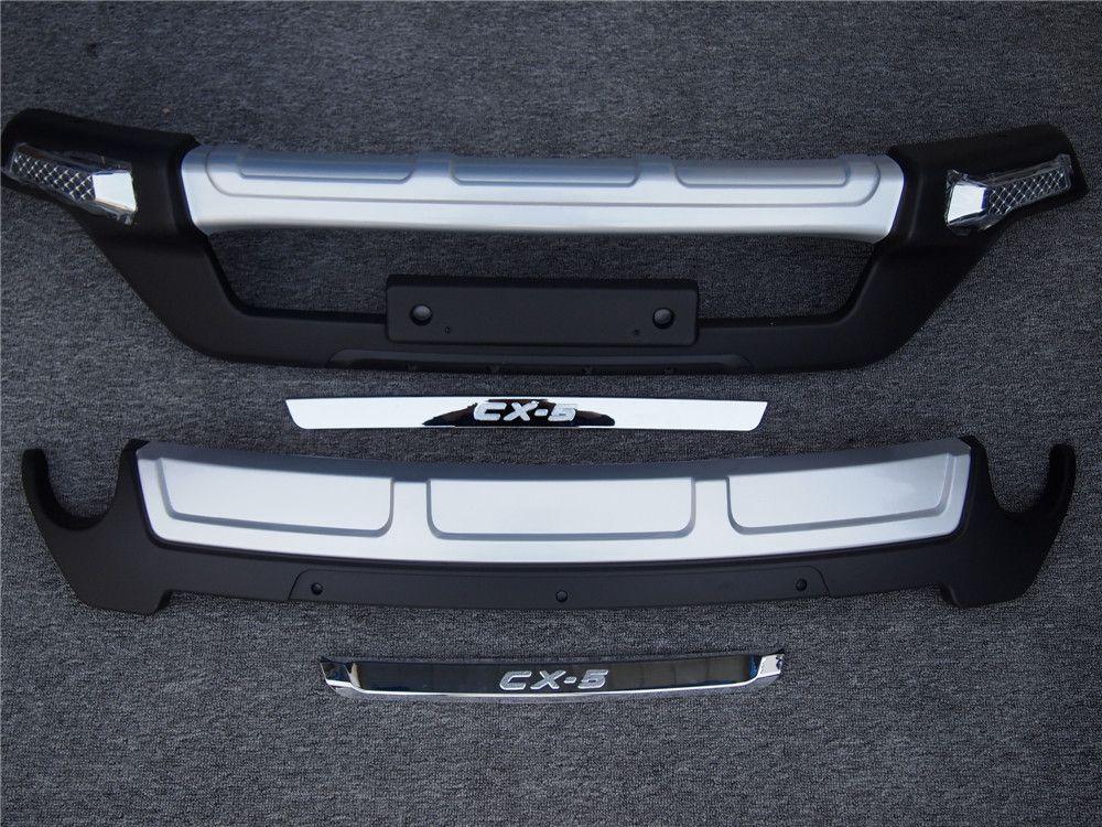 LED زينة السيارات ABS + الجبهة الخلفية مصدات السيارات الوفير حامي الحرس التزلج لوحة يليق 2013-2015 CX-5 مع مصباح