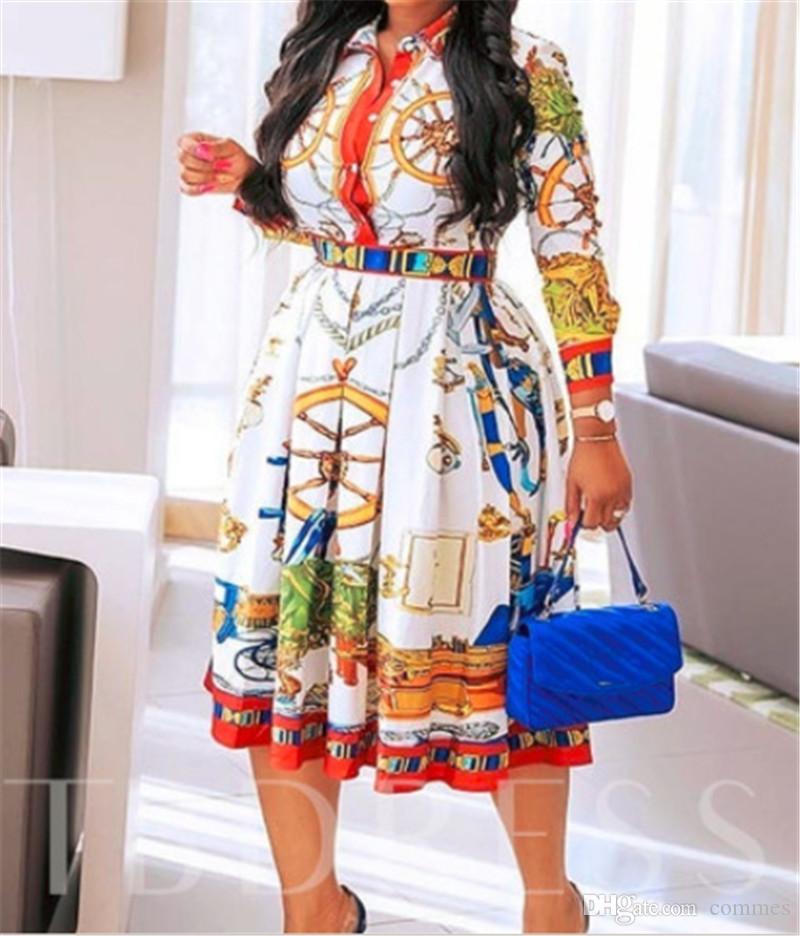 Plus Size Womens Robes Casual Mode numérique Imprimer lambrissé Femmes Designer Robes chemise Femmes Vêtements décontractés