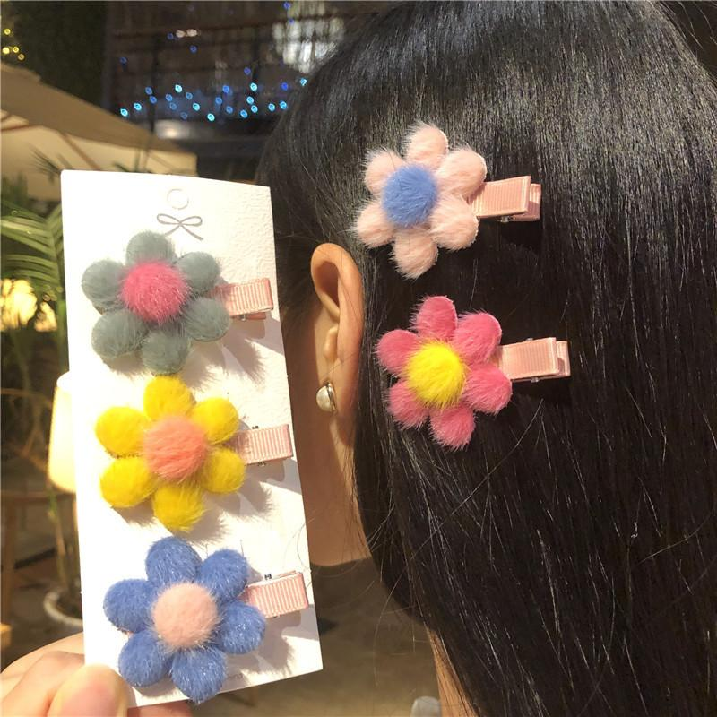 Cute Baby Girls Hair Clips Bobby Pin Hair Accessoires Flower Clips Fluffy Hairpin clip headdress Accessories for Girls