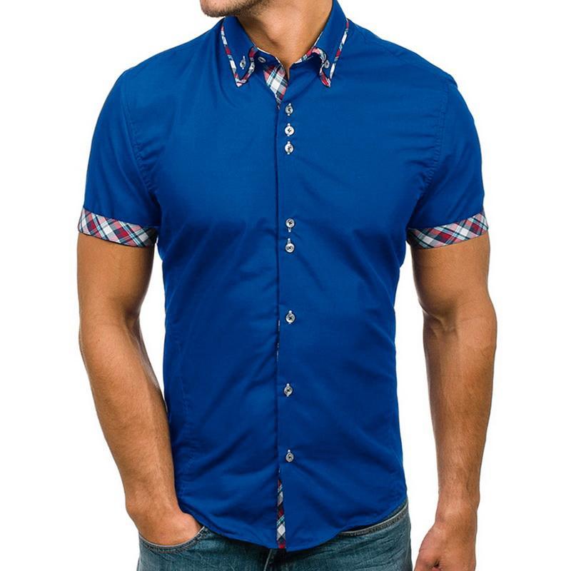 Laamei Мужская рубашка Классический Двойной воротник Mens вскользь рубашка Slim с коротким рукавом Plaid Color Match Мужской рубашки платья мода лето