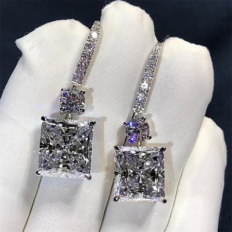 Victoria Jewelry di lusso 925 sterling argento principessa taglio bianco topazio platino placcato placcato cz diamante ciondolare orecchini orecchini da sposa gancio da sposa orecchini