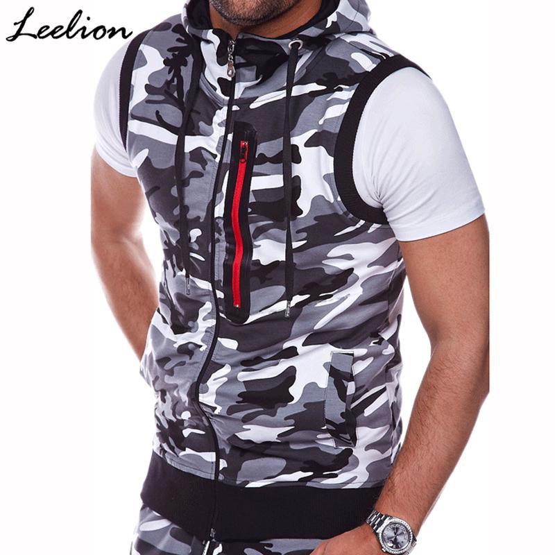 LeeLion 2018 Sleeveless Camouflage Hoodies Men Spring Summer Slim Fit Sweatshirts Zipper Cardigan Sportswear Casual Tracksuit
