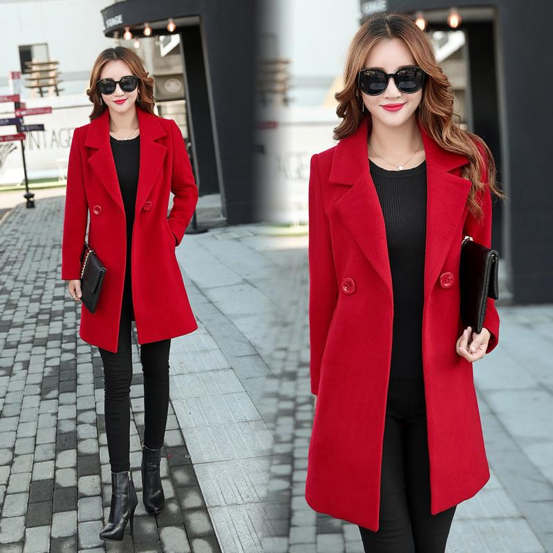 YICIYA Herbst-Winter-Jacke Frauen Mantel Wollmantel Anzüge plus Größe 3XL 4XL große große lange schwarze dünne Oberbekleidung SH190928 Mischung Kleidung