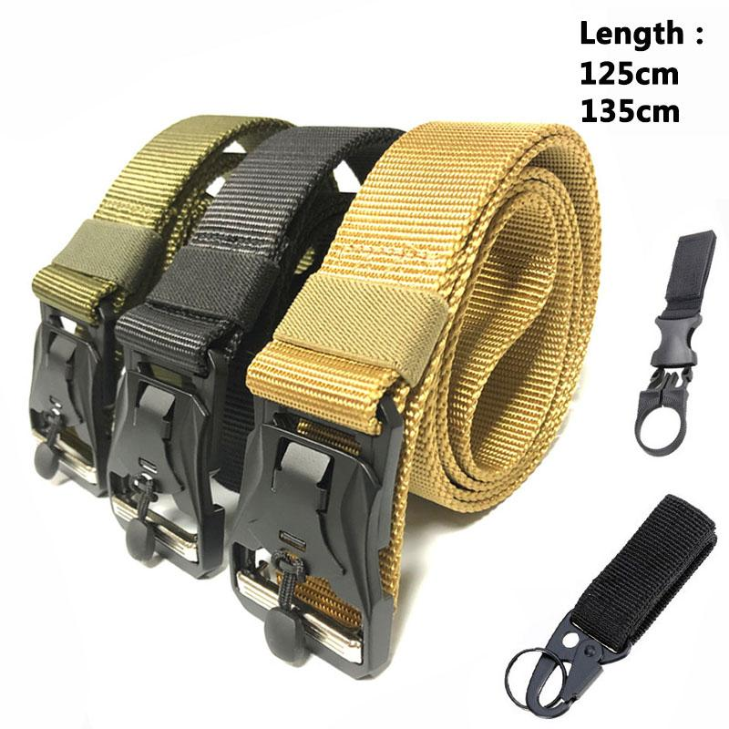 Tactical Belt Army Magnetic Buckle Metal Outdoor Heavy Duty Training Waist Belt Hunting Accessories Strap Cinto