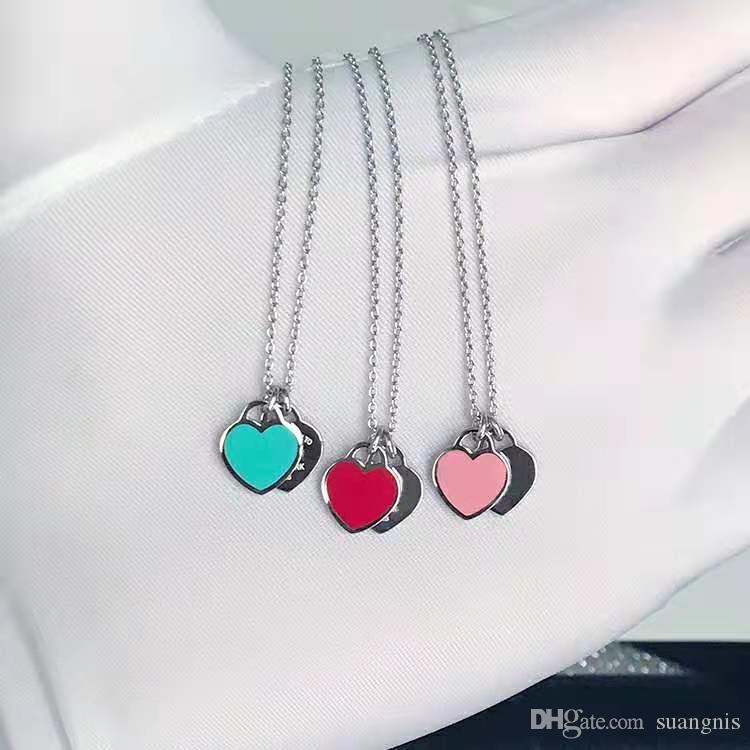 1PCS قطرة الشحن 925 الفضة مطلي على شكل قلب قلادة جميلة المجوهرات المرأة أنثى تاريخ الميلاد هدية Chirstmas 45CM