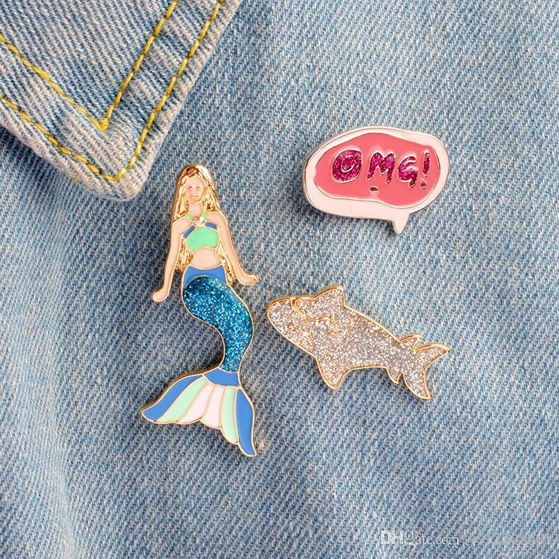 """Mermaid Shark Dialog """"OMG"""" Persönlichkeit Emaille Spezielle Brosche kreative Revers Denim Geschenk Abzeichen Dekoration Kombination Pins"""