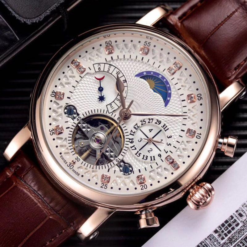 Mode Schweizer Uhr Leder Tourbillon Uhr Automatische Männer Armbanduhr Männer Mechanische Stahluhren Relogio Masculino Uhr