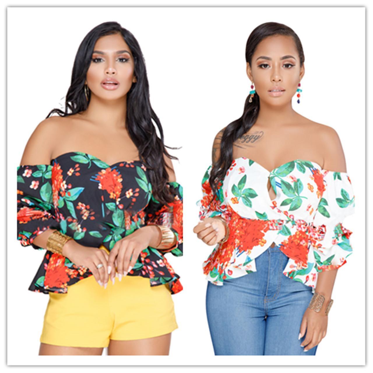 Женская футболка с цветочным принтом Comfy Off плечо с коротким рукавом фонаря назад молния рябить сплит топ с баской летняя женская одежда белый черный
