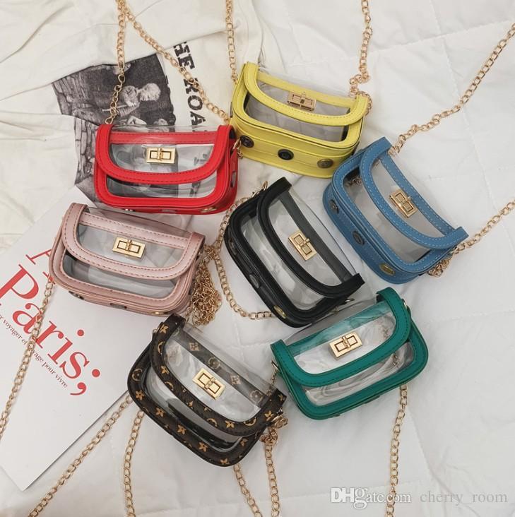 Koreanische kinder jelly Taschen Mode Candy Farbe lucency Baby Mädchen Prinzessin Mini Messenger Bags Metallkette Kinder Single-umhängetasche Y1459