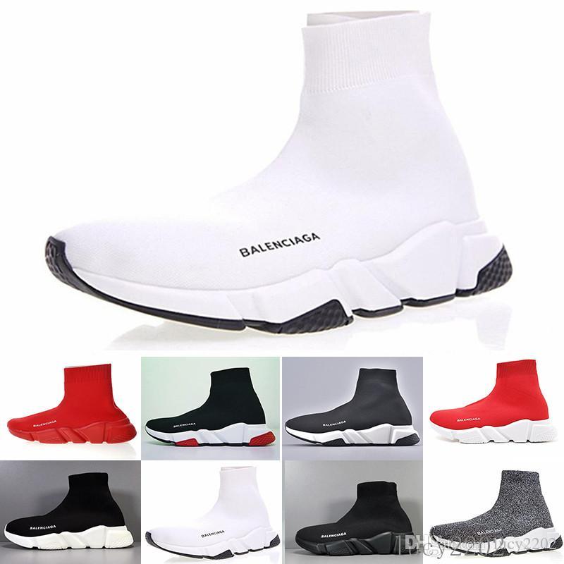 Günstige Designer Speed Trainer lässige Schuhe schwarz weiß rot Glitter Wohnung Fashion Socken Stiefel Turnschuhe Turnschuhe Runner KOAA8