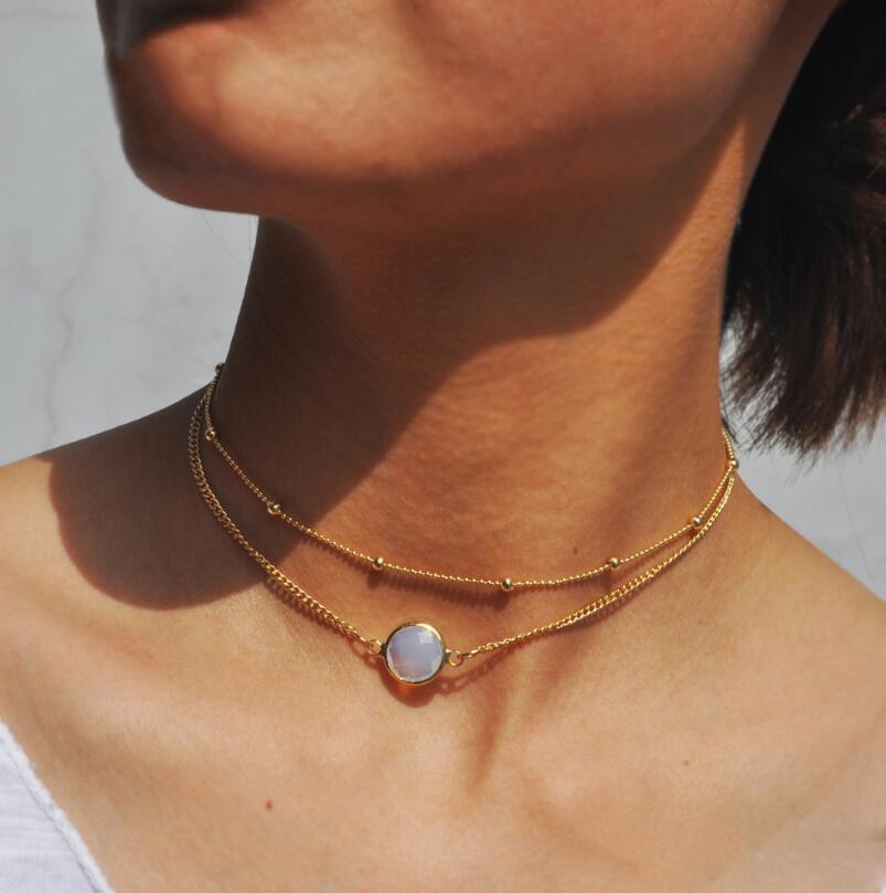 Мода Многослойная Натуральная Камень Включить Шарм Ожерелья Ожерелья Бусина Коленчатая цепочка Ювелирные Изделия Аксессуар для женщин