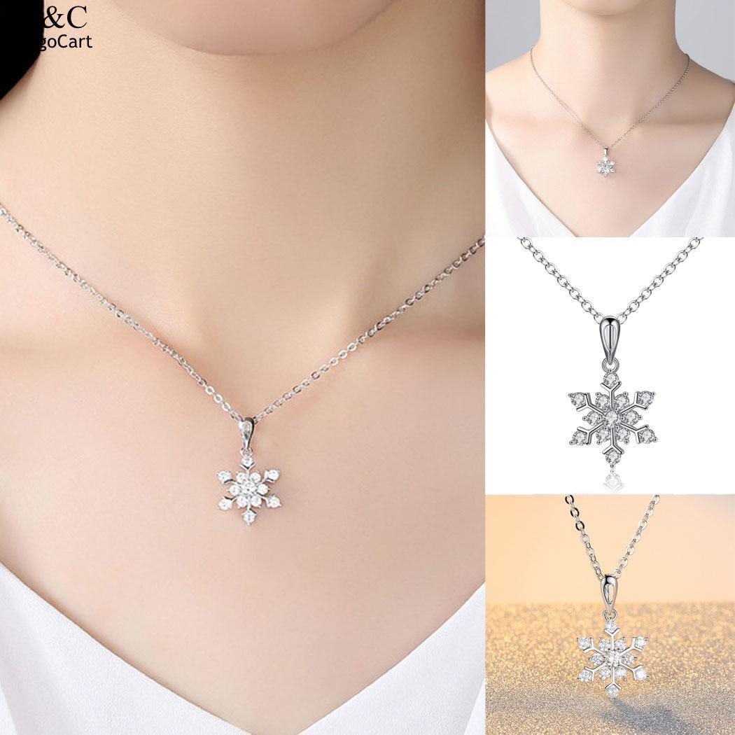 FASHION- Femmes Mode Bijoux Choker Snowflake forme strass Pendentif Lobster Claw fermoir Collier Party Casual