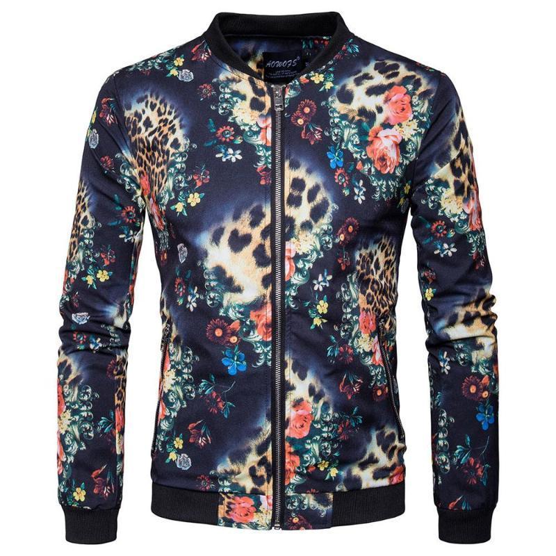 Hombre animal floral impreso bomber chaqueta cremallera liviana peso béisbol vuelo hombres primavera otoño chaquetas casuales abrigos hombres