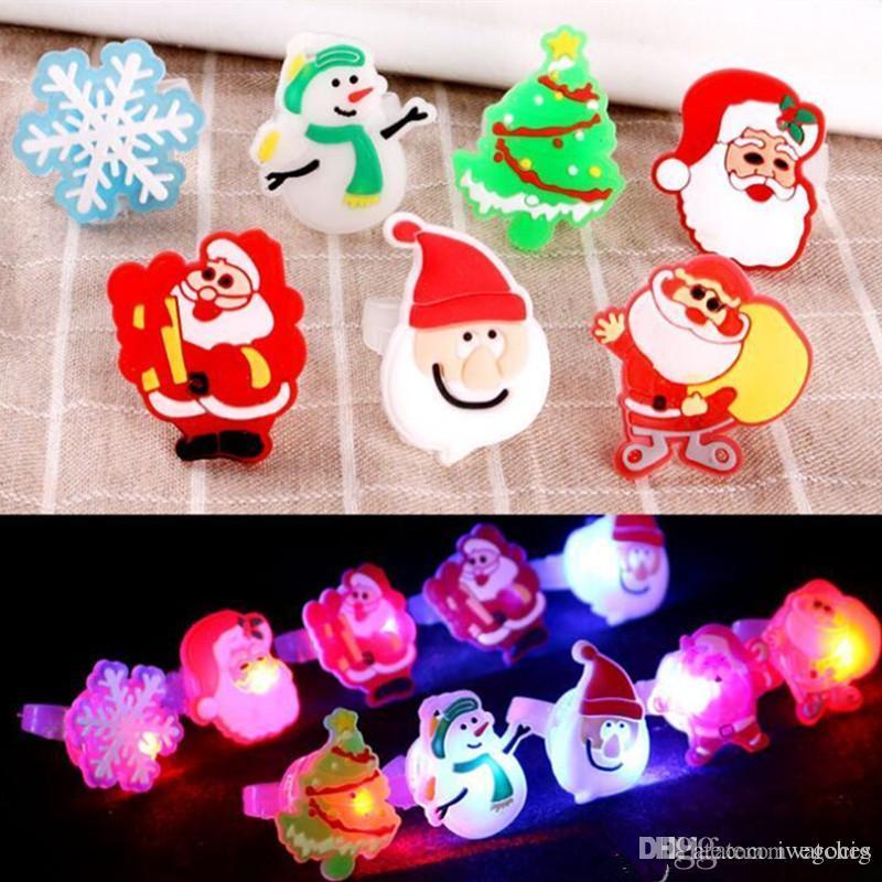 Led Karikatür Halkalar Sevimli Noel Sönüyor LED Işık Yukarı Jelly Yumuşak Parmak Yüzük Işıklar Flaş Aydınlık Halkası Oyuncak Dekorasyon Malzemeleri