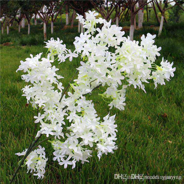 90cm artificial de cereza del resorte del ciruelo Peach rama de la flor de flores de seda Inicio decorativo de la boda flores plásticas melocotón Ramo