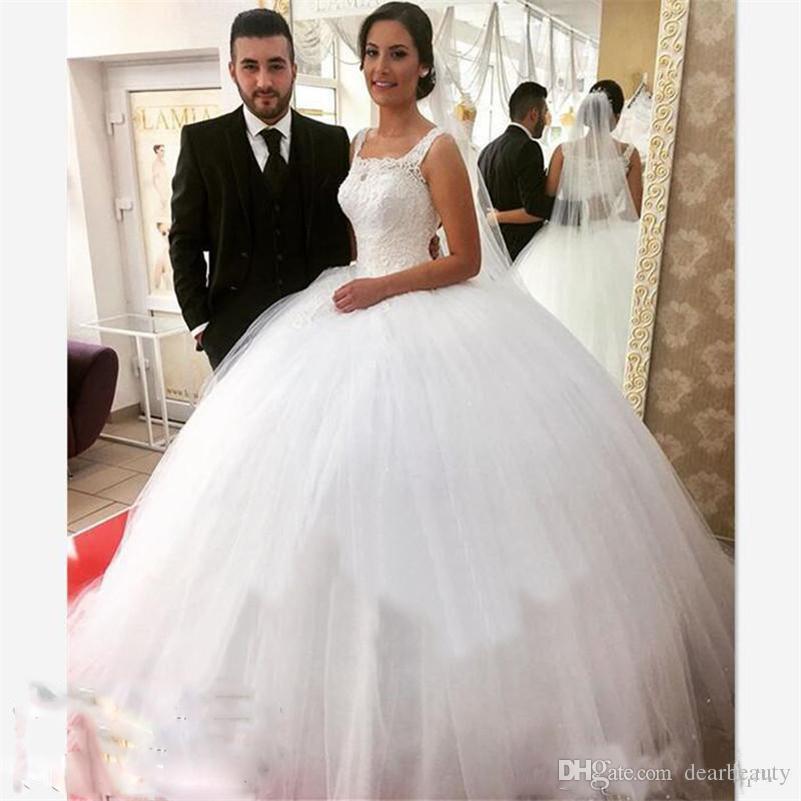 공 가운 웨딩 드레스 스퀘어 레이스와 얇은 민소매 푹신한 웨딩 드레스 다시 레이스 위로 신부 드레스 Vestidos2021
