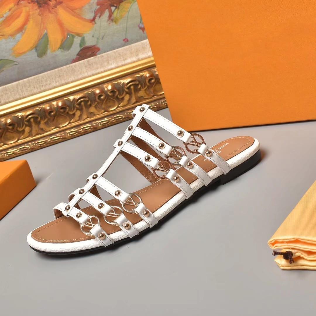 2021 Sonbahar Kış High-end Kalite Moda Bayanlar Tahıl Deri Ayakkabı ile Buzağı Sandalet 35-42 Üç Renkler