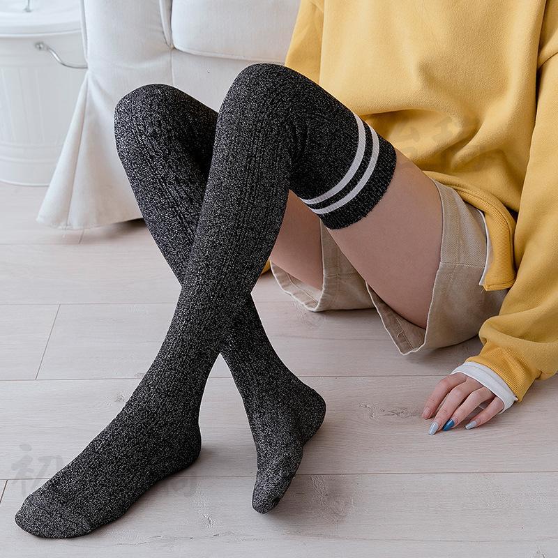 Calzini da donna calze di cotone brillante seta splicing Pile Up Socks Jacquard Twist Collegio vento sulla calzettoni