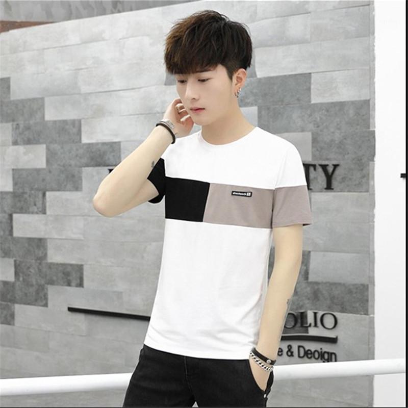 Tops diseñador del Mens T Shirts apliques con paneles de camisetas de manga corta a rayas ropa informal para hombre del equipo de moda cuello