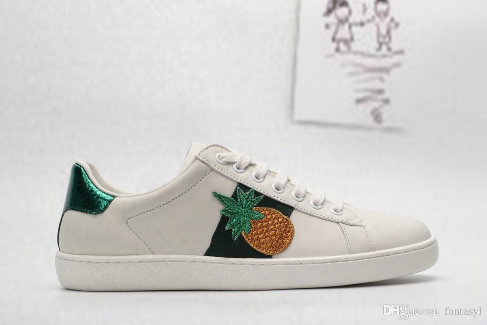 Desenhista do couro de luxo confortável calçados casuais Branco Costura Stripe clássico Baixo Homens e Mulheres Casais Casual Shoes