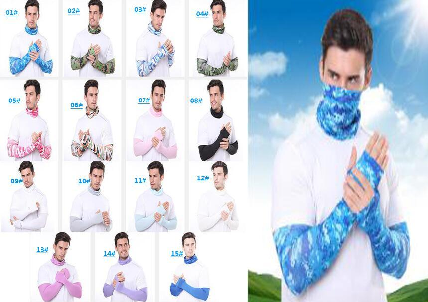 Free DHL Men Bandana Magic Scarf gloves protective sleeves set Sport Sun UV Protection Cooling Face Mask For Running Fishing Cycling