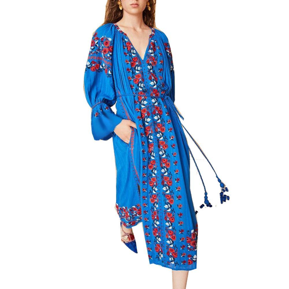 Meilleur Bohème # Élégant Robe Bleu Brodé Floral Manches De Lanterne De Mode Unique Plage Holiday Party Boho Doux Femmes Robes