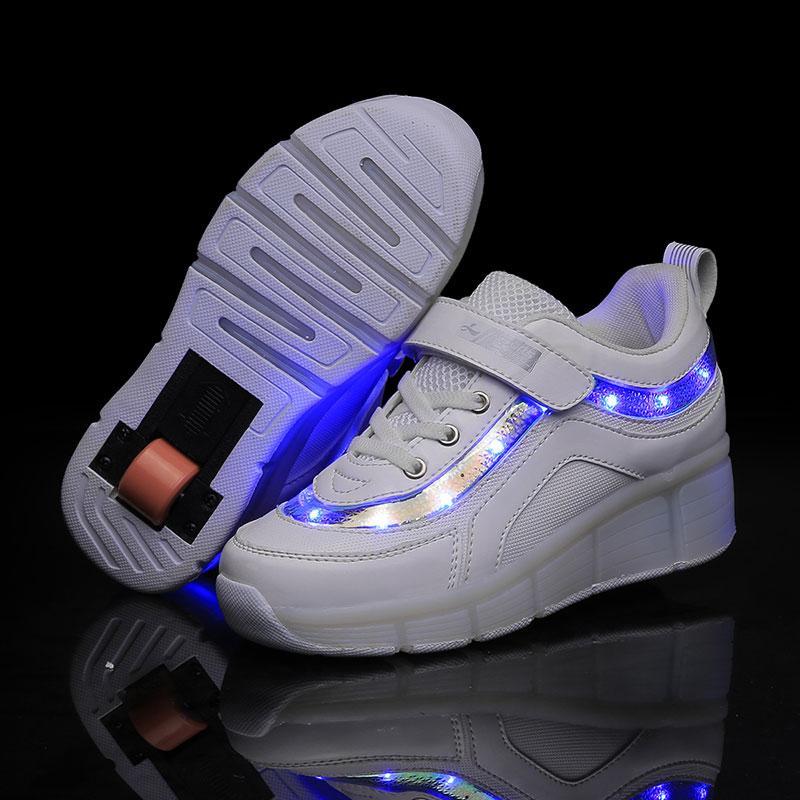 Kinder LED-Licht-Turnschuhe Zwei Rad-Jungen-Mädchen-Rollen-Skate-beiläufige mit Roller-Kind-Mädchen Sportschuhe USB White Lade