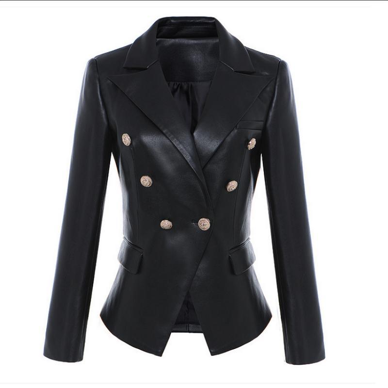 Abiti da donna Blazer 2021 Moda Donna Inverno Nero Lion Metallo Doppia Cappotto in pelle e Giacca Plus Size Vendita all'ingrosso