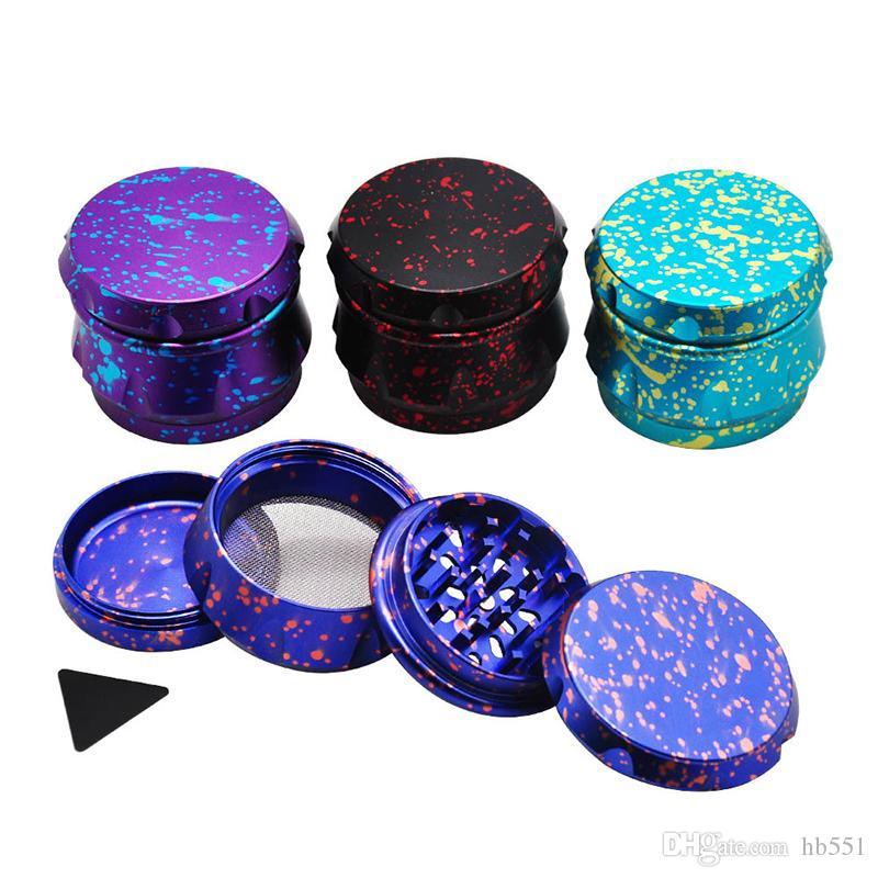 Forma de tambor colorido Tabaco Grinder 63mm Diámetro de 4 capas de aleación de aluminio de metal seco amoladora de la hierba de la especia de la trituradora Cigarrillos herramientas