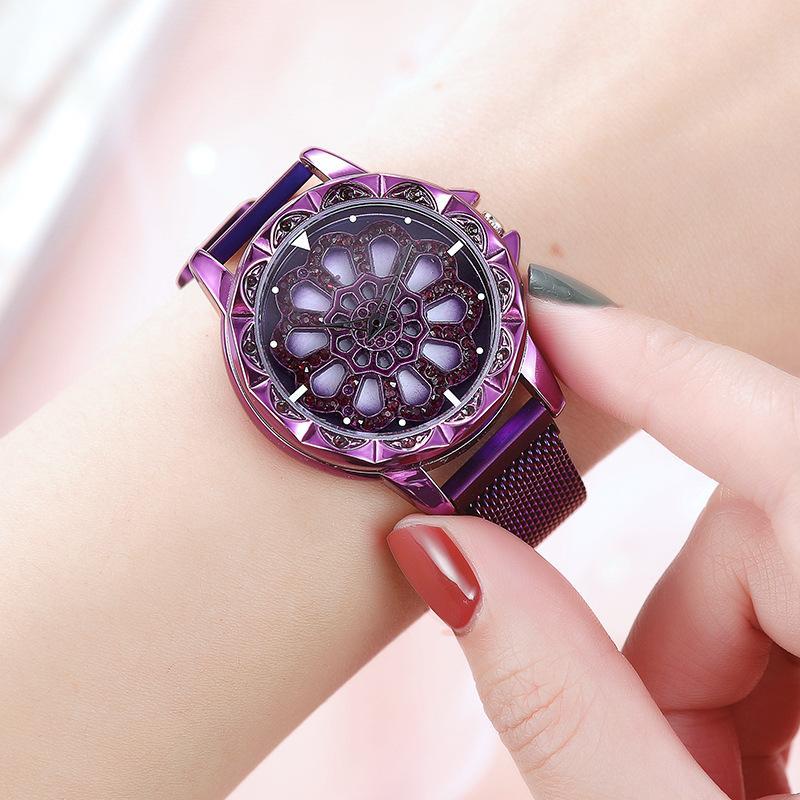 Luxury Purple Flower Diamond Women's Watch Fashion Ladies watch Rotary Timepiece Quartz Wrist watches Dial Turn Female skmei