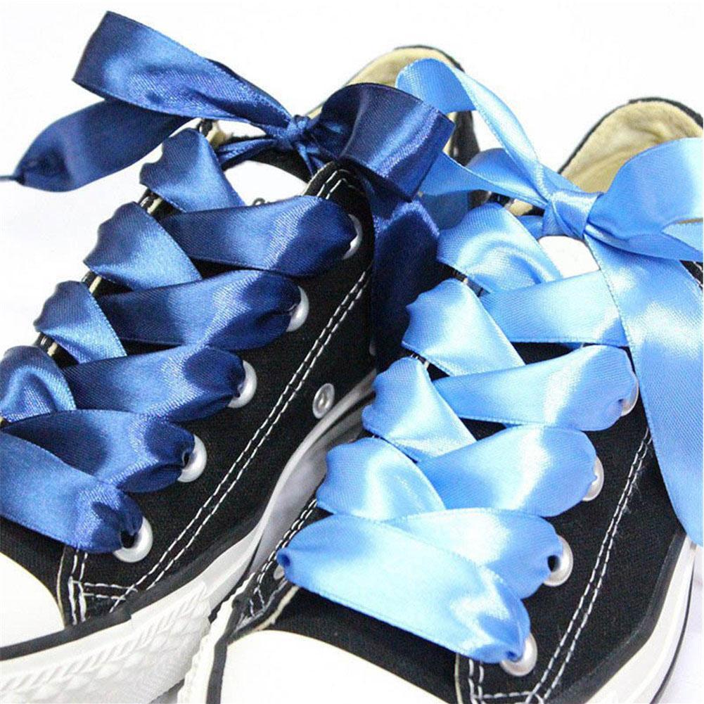 Nueva cordones 1 par 2 cm Ancho cinta de seda cordones de raso 80/90/100 cm de longitud zapatilla de deportes atan para niños adultos