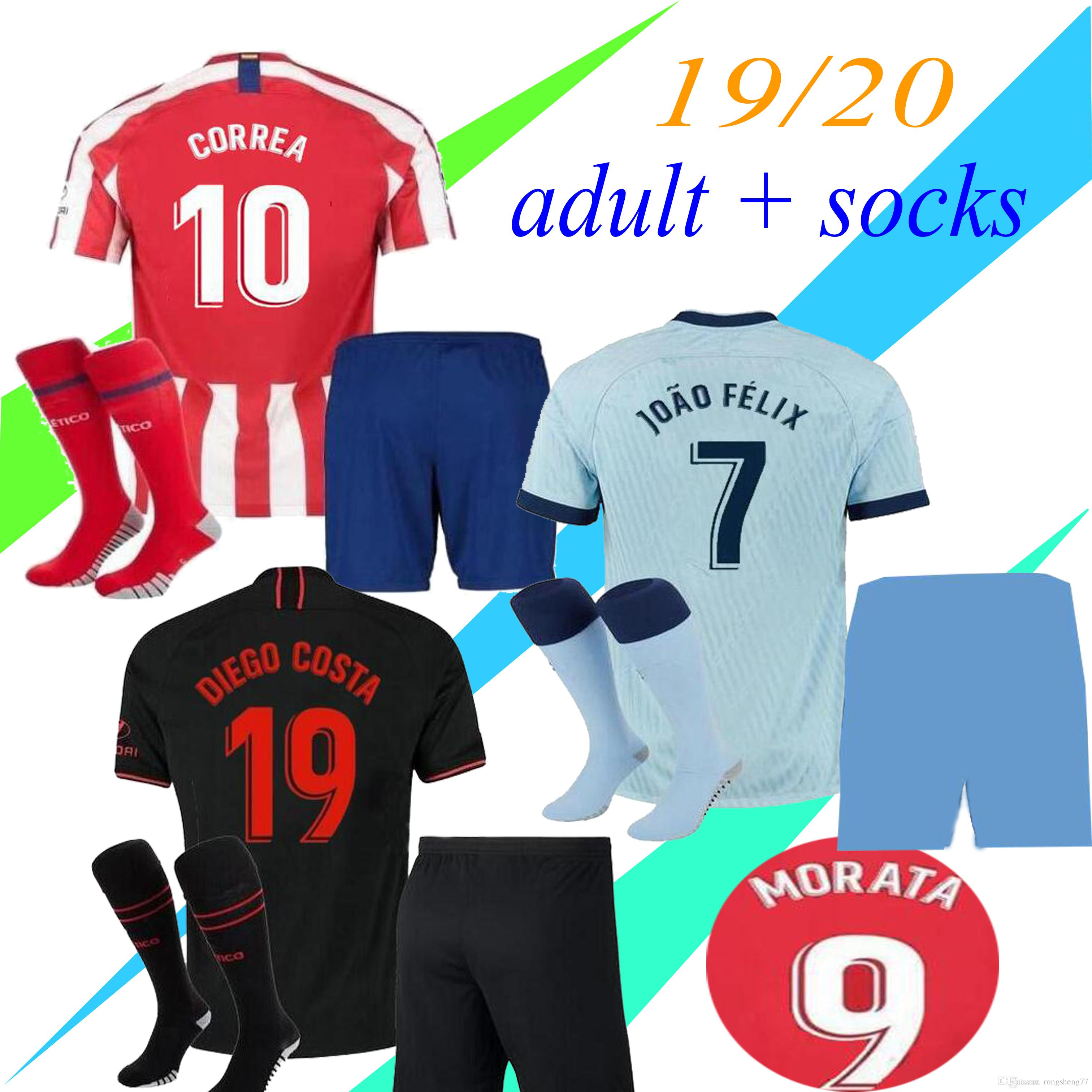 2020 2019 JOÃO FÉLIX Adult Madrid Soccer Jerseys 2020 Thai Quality LLORENTE DIEGO COSTA Camiseta ...