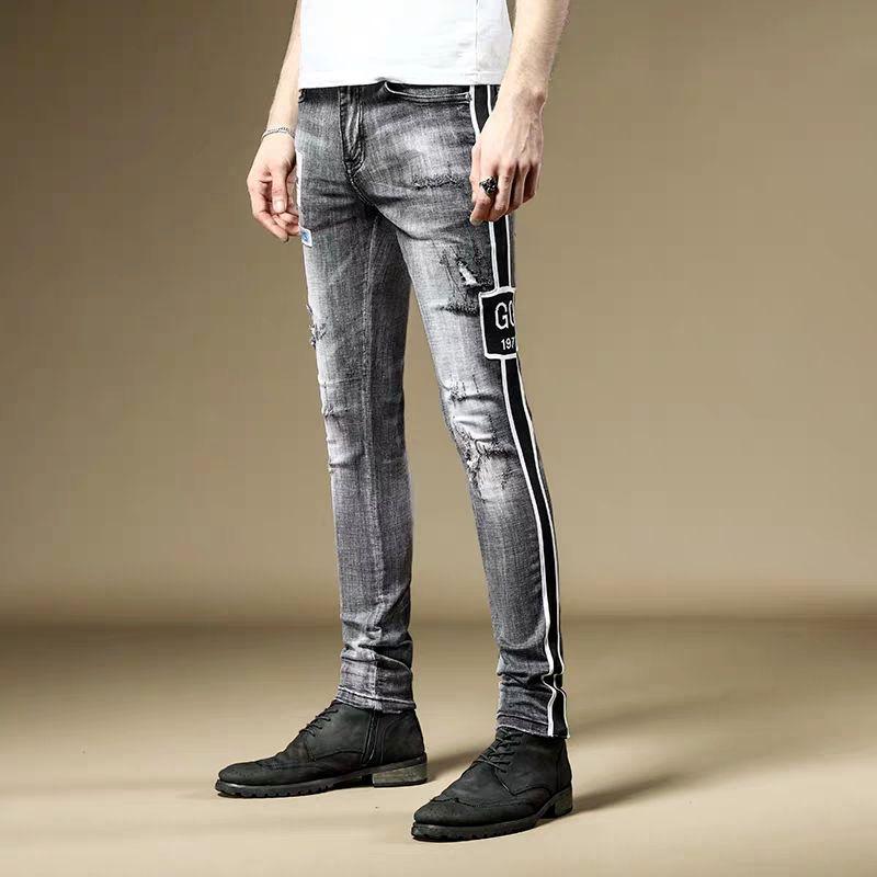 Di trasporto del nuovo maschio sezione sottile Primavera uomini 2020 jeans strappati pantaloni slim versione coreana del pantalone ragazzi di tendenza