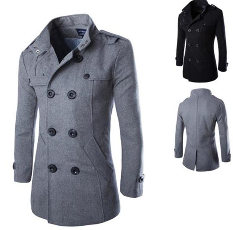 Мужчины Роскошная куртки шерсти Тонкий с длинным рукавом Стенд воротник мужские пальто вскользь Верхняя одежда с кнопкой