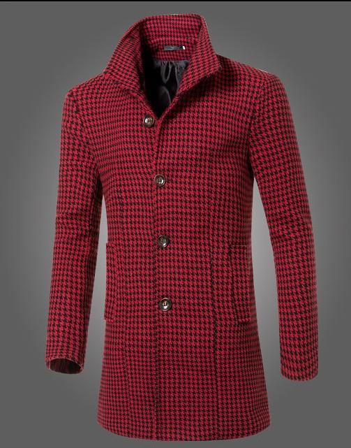 Moda 2016 nuevo invierno de los hombres de la capa de la marca de ropa larga sección de cuello de lana pata de gallo ocasionales adelgazan la chaqueta del foso