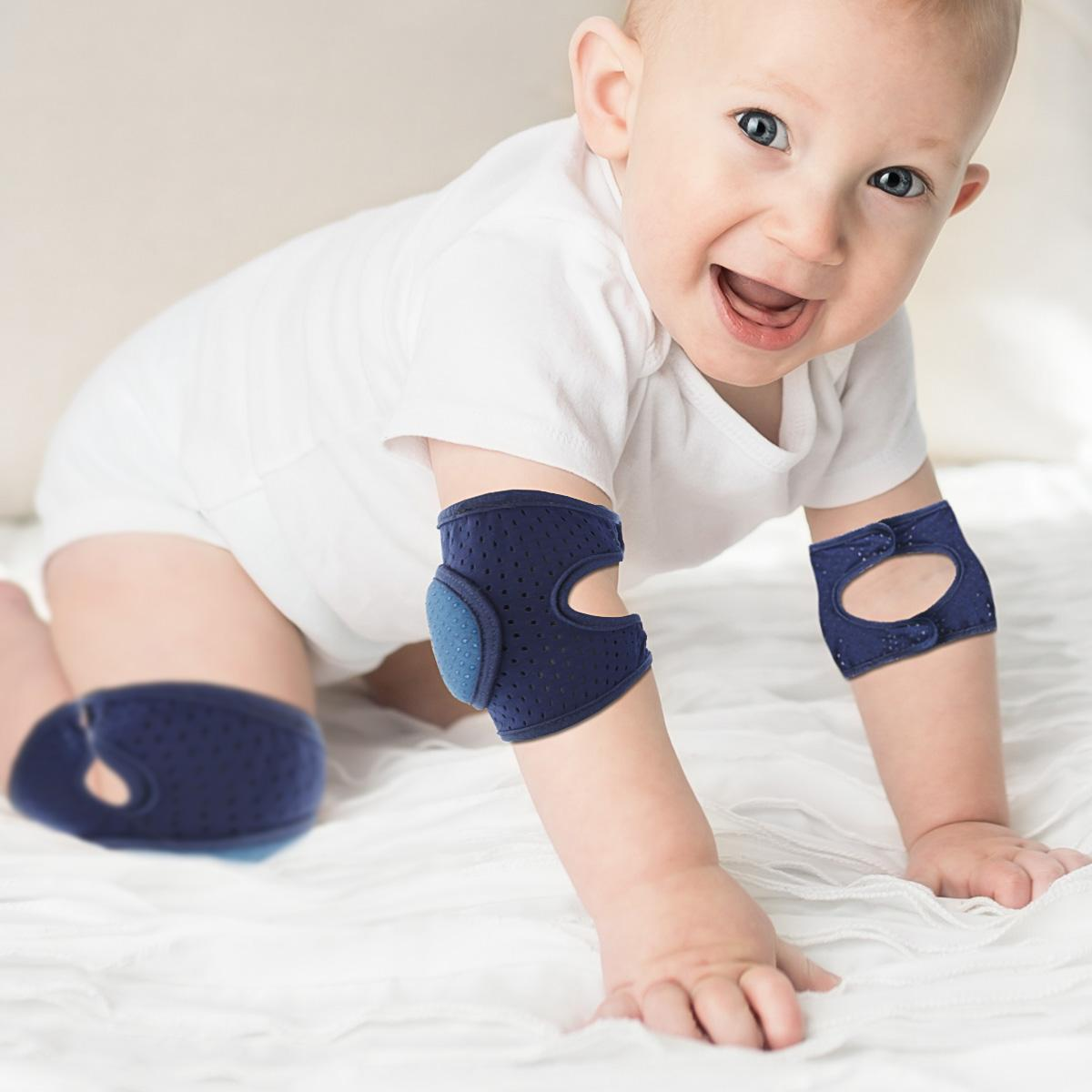 dark navy blue Toddler Kids Kneepad Protector Thickened Terry Non-Slip Safety Crawling Baby Leg Warmers Knee Pads Unisex For Child