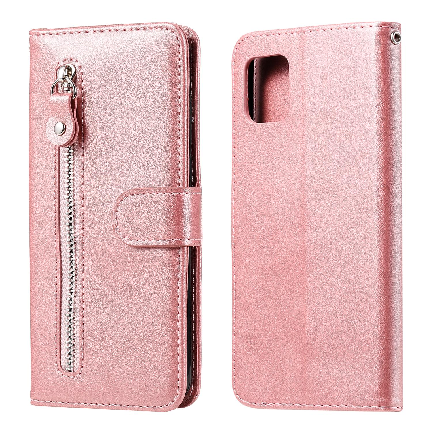 Pure zipper PU Leather case For Samsung Galaxy A81/Note 10 Lite/M60S/A91/S10 Lite/M80S Cover Flip Stand Wallet Card Slot