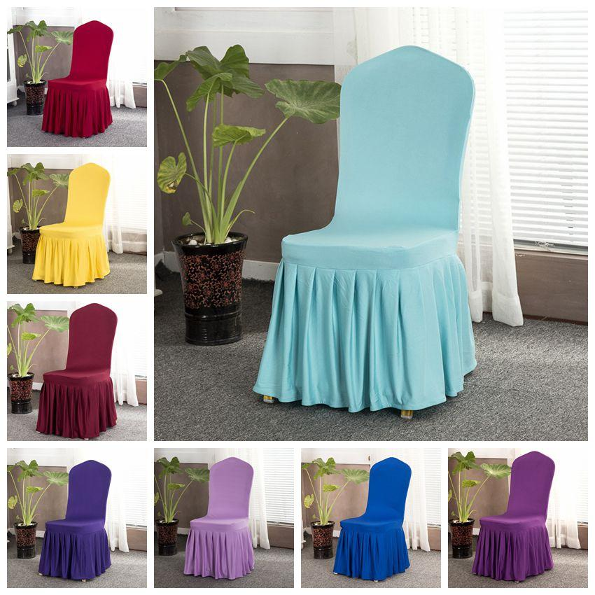 16 colores cubierta de la silla sólida con falda todo alrededor de la silla parte inferior Spandex cubierta de la silla de la falda para la decoración del partido sillas cubiertas CCA11702 10 unids