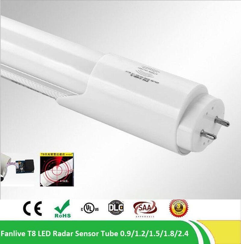 25pcs / Lot 4ft 4feet CE LED T8 PIR Tube Lumière G13 2 Broches AC85-265V 18W 96LEDS Laiteux / Clair Couverture PC LED T8 Capteur Tube
