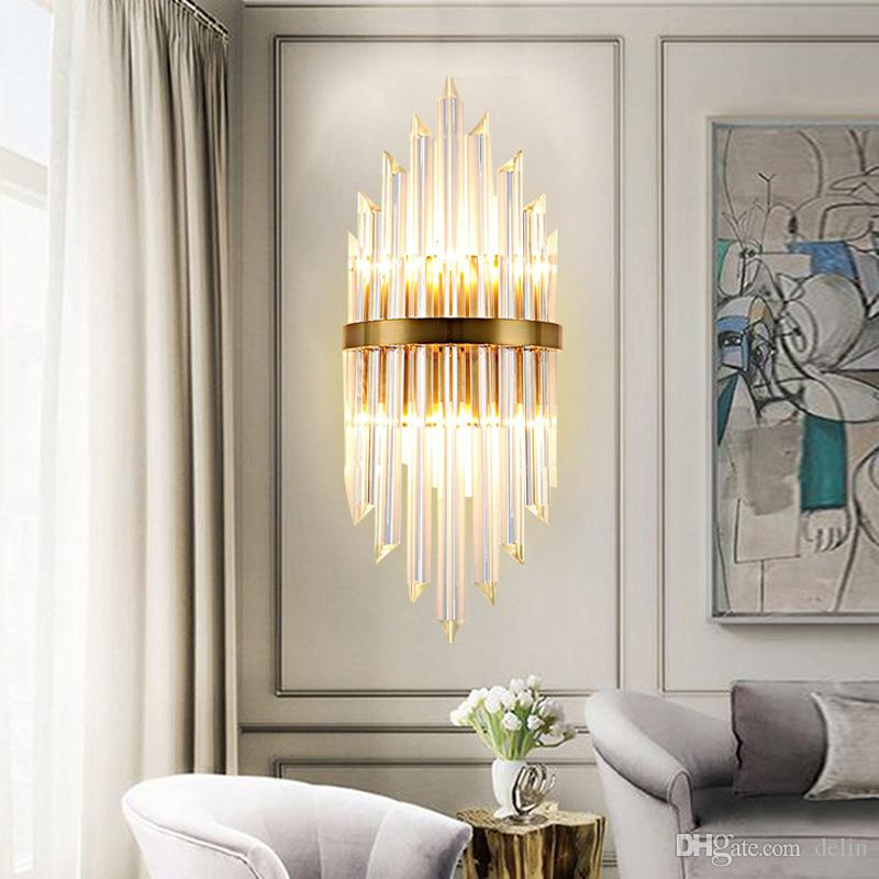 2019 Delin Luxury Gold Wall Lamp Modern Crystal Wall Sconce Lighting  Fixture Living Room Bedside Stainless Steel LED Wall Light From Delin,  $273.07 | ...
