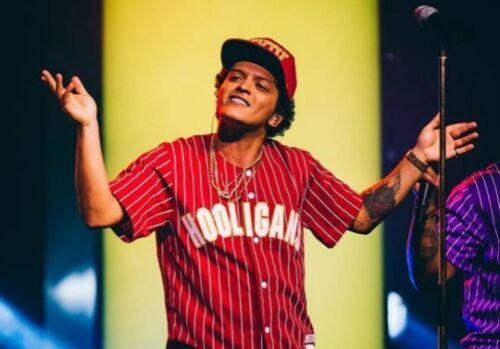 Männer Bruno Mars 24k Hooligans Red Baseball Jersey Wette Awards Hohe Qualität Trikots