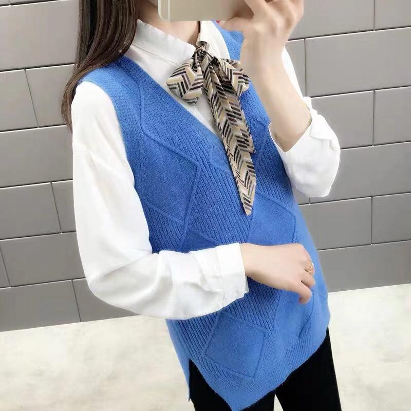 Damenpullover 2021 Frühling Herbst Koreaner adrette Stil Weste Frauen Elegante Student V-Ausschnitt Pullover Strickspitzen Feste Oberbekleidung Westen A56