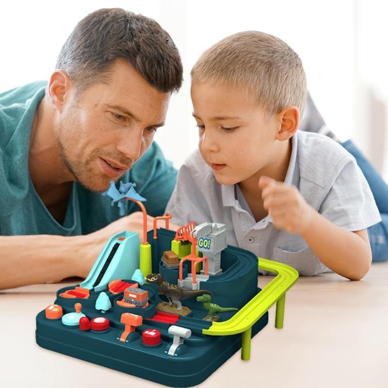 Baby-Auto-Abenteuer Spielanleitung Schienen Train Track Spielzeug für Kinder Bildung Toy Macaron Farbe Tabellen-Spiel Puzzles Weihnachtsgeschenke