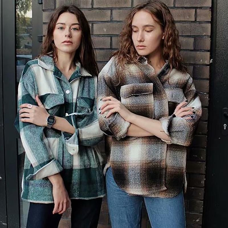 Plaidfrauen Woll-Shirts 2020 Art und Weise Damen weiche dickes Hemd Partei weibliche elegante lose Tops Vintage Mädchen chic Aufmaß Shirt