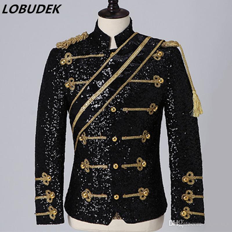 Angleterre Style de Cour Robe Vintage Noir Blanc Paillettes Veste Slim pied de col Manteau Boîte de nuit Bar Singer Rock Band Hommes Costume gros