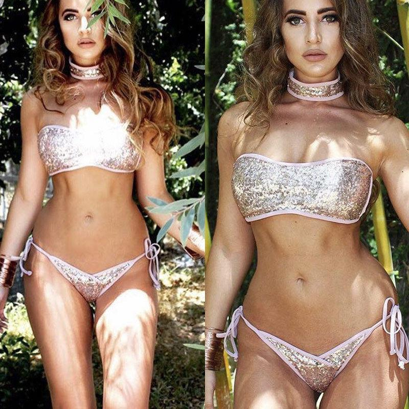 vestito sexy Donne vita bassa paillettes Bikini benda capestro costumi da bagno costume da bagno push-up Reggiseno imbottito Bathing beachwear biquini