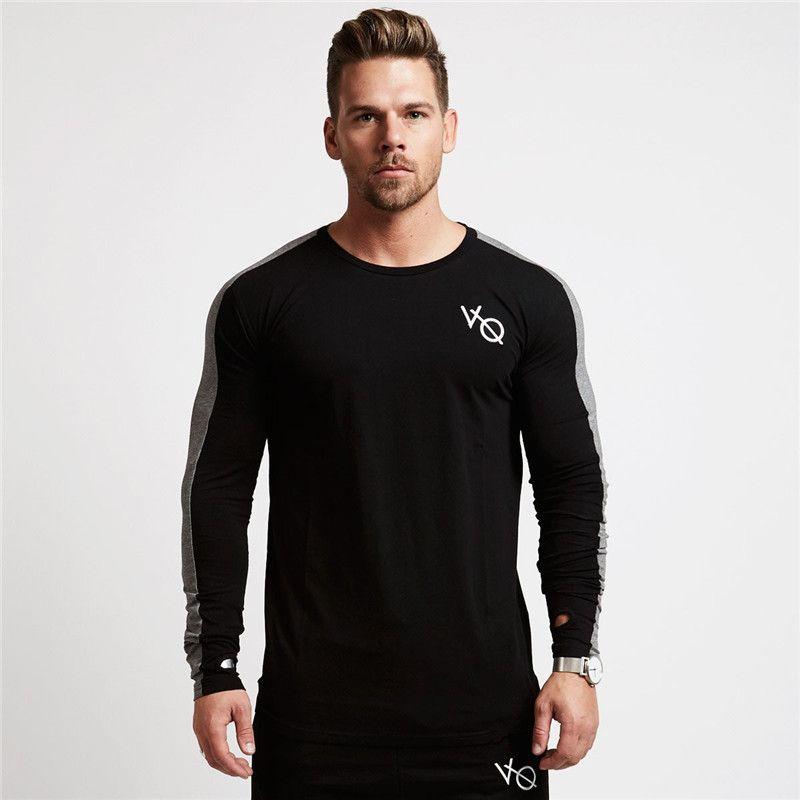 Muscle Fratello Fitness Sport maniche lunghe modelle Autunno puro cotone con cappuccio da Uomo Slim