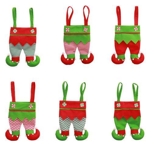 Santa Pants Christmas Spirit Calças Partido festiva Tratar bolso doces Sacos Wine Stocking presentes Garrafa Bolsas Party Decor