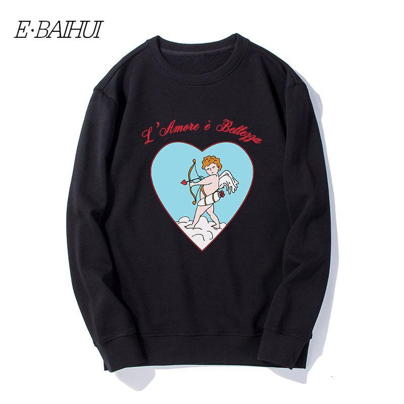 E-baihui Homens pulôver gola manga comprida Imprimir Mens Original off Designer Cupido Pullover Homens Outdoor Sweatershirt WD-T530 IWXY