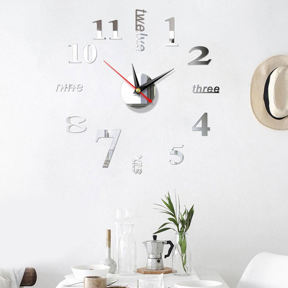 20-50cm Ampio display Digital Home Usa Modern Art Stile Europeo Orologio da parete 3D Adesivi semplice acrilico specchio fai da te Accessori del